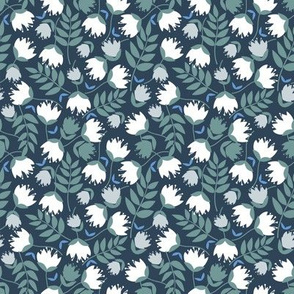 Spring Florals - White Flowers on Navy