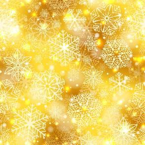 white snowflakes on golden