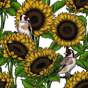 Sunflowers and goldfinches 5