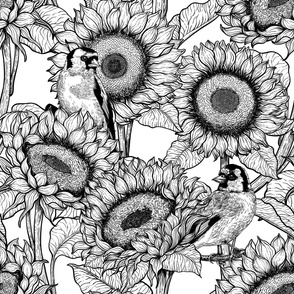 Sunflowers and goldfinches 1