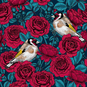 Rose flowers and goldfinch birds