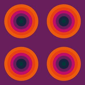 Modern, geometric, orange, pink, purple, blue, green, maya circles