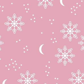 Magic snowflake winter sky stars and moon night boho christmas theme pink girls white