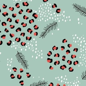 Little snowy winter day Christmas leopard animal print snow flakes and pine tree details mint red
