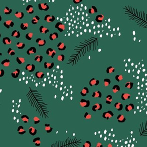Little snowy winter day Christmas leopard animal print snow flakes and pine tree details forest green red