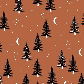 Christmas forest pine trees and snowflakes winter night new magic moon boho rust copper brown