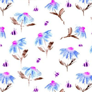 Surreal watercolor pink bees and blue flowers