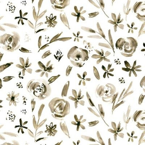 Cinnamon flowers • watercolor florals in earthy shades