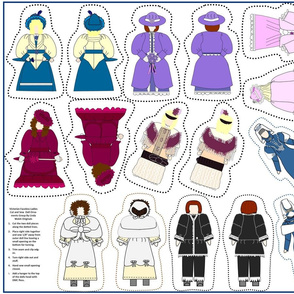 Victorian Faceless Cut and Sew Doll Ornaments Group3