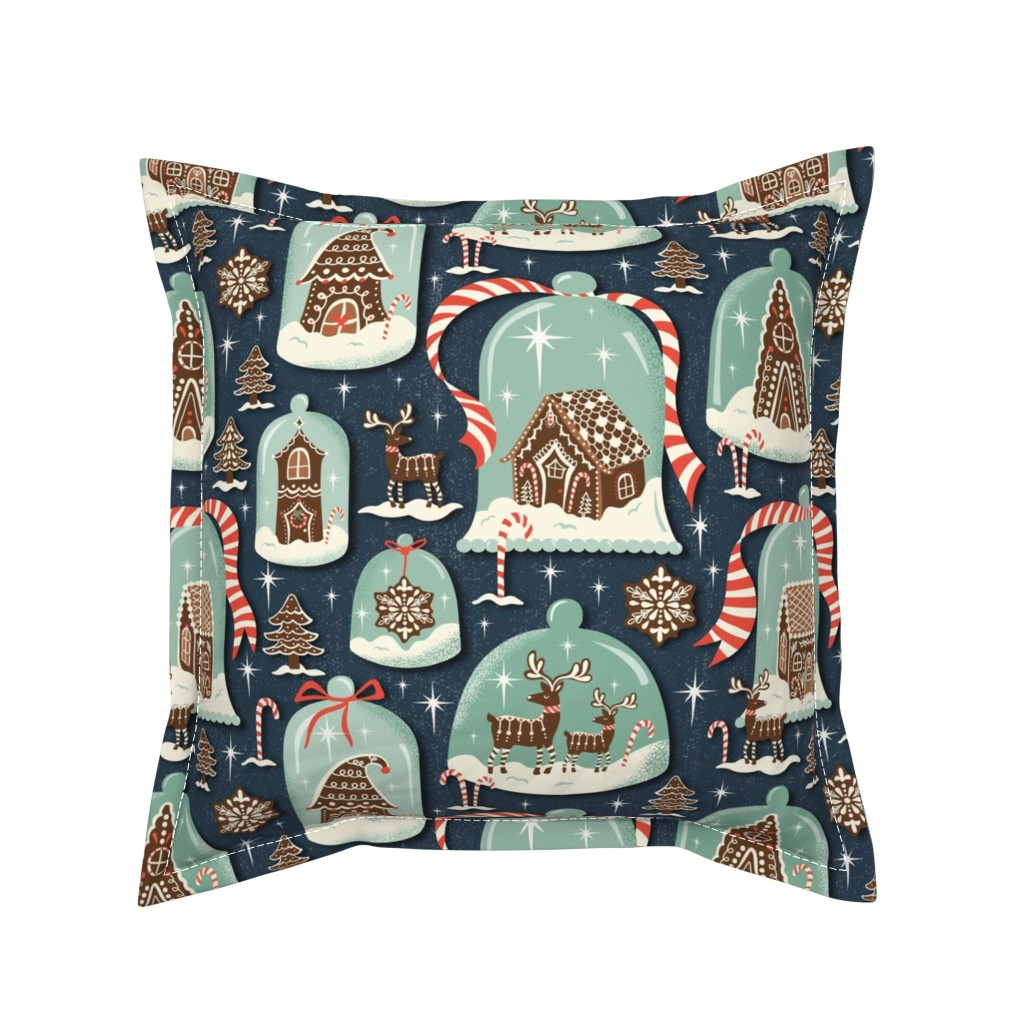 Serama Throw Pillow featuring Christmas Gingerbread Village - Blue Large Scale - Gingerbread House Xmas Winter Holiday by heatherdutton