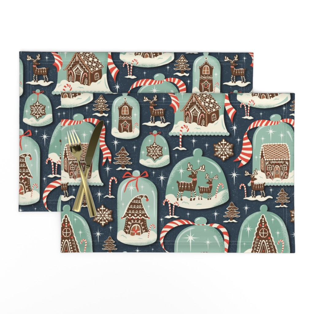 Lamona Cloth Placemats featuring Christmas Gingerbread Village - Blue Large Scale - Gingerbread House Xmas Winter Holiday by heatherdutton