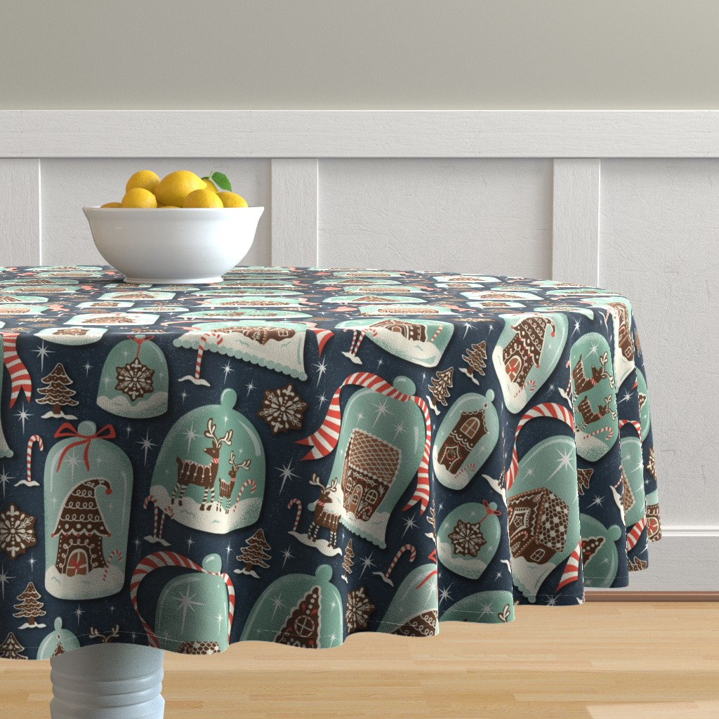Malay Round Tablecloth featuring Christmas Gingerbread Village - Blue Large Scale - Gingerbread House Xmas Winter Holiday by heatherdutton