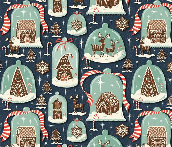Christmas Gingerbread Village - Blue Large Scale - Gingerbread House Xmas Winter Holiday Large Scale