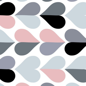 Mid Century Modern Hearts 1. Pink and Grey