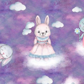 scattered rabbits on clouds purple FLWRT