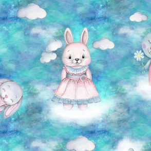 rabbits on clouds scattered turquoise aqua blue FLWRT