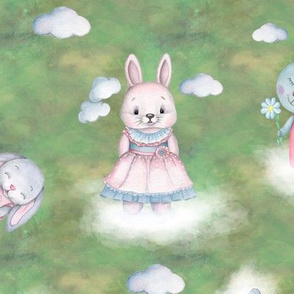 scattered rabbits on clouds green FLWRT
