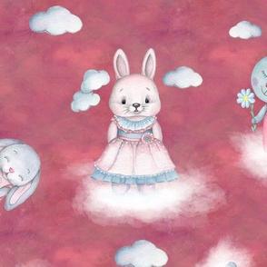 rabbits on clouds scattered pink FLWRT