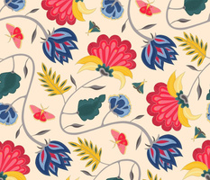 Chintz with moths