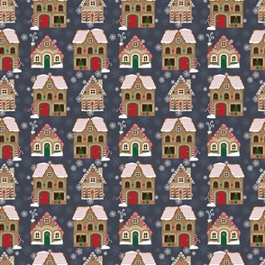 Gingerbread Houses Pattern - Blue
