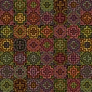 Medieval Cheater Quilt - Vintage Earth Tones