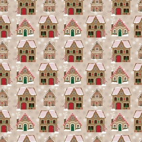 Gingerbread Houses Pattern - Brown