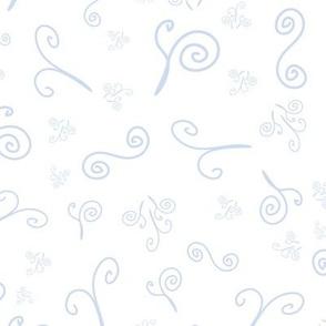 Doodles, light blue on white