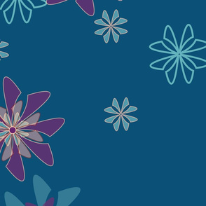 Blooming flowers teal background