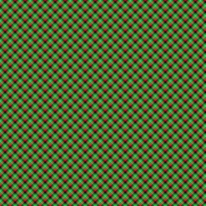 Christmas Holly Green, Red and Black and Argyle Tartan Plaid with Crossed White Lines