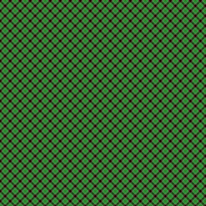 Christmas Holly Green and Red Diagonal Argyle Tartan with Crossed Red and White Lines