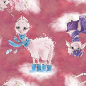 scattered llamas on clouds pink FLWRT