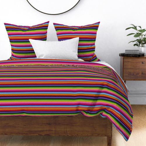 NEON Striped MEXICAN BLANKET