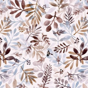 watercolor brown and gray leaves