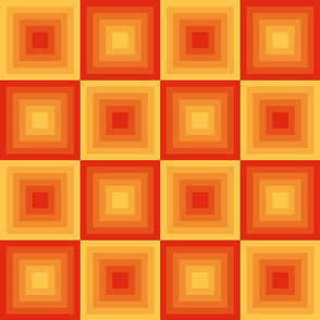 Modern, geometric, yellow, orange, red, maya temple