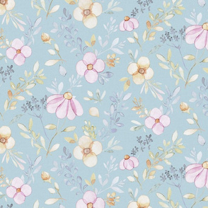 Spring Pink flowers on light blue