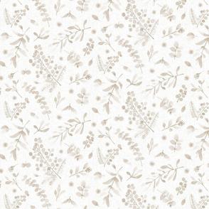 Australian native flora SMALL - watercolor sunshine wattle eucalyptus beige