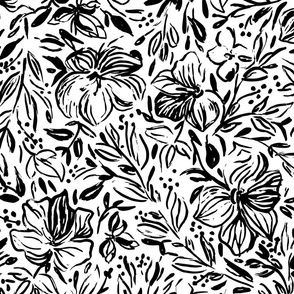 Hibiscus flowers in black ink - LARGE
