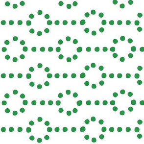Christmas vector with dotted hoops of simple modern green stitches on white background, seamless pattern
