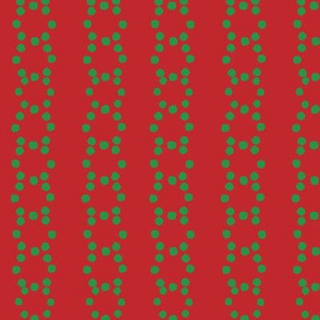 Christmas vector green circle dots aligned on red background, seamless pattern