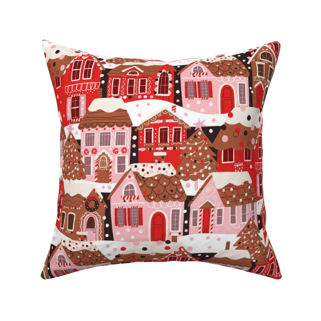 Catalan Throw Pillow featuring Gingerbread Village by cynthiafrenette