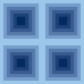 Modern, geometric, blue, maya temple