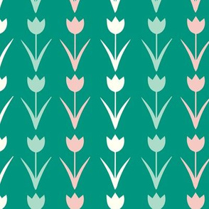 Vintage Floral Pattern in pastel and kelly green