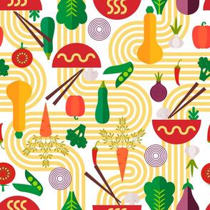 The Noodle Link- Bauhaus Noodles with Vegetables- Large Scale