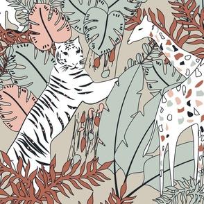 I Spy Wildlife Tropical Terrazzo Safari- Line art Nursery Animals Adventure- Large Scale