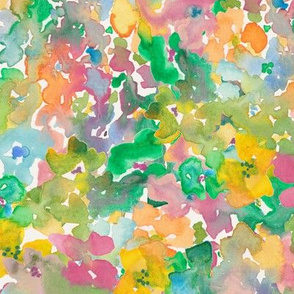 Yellow and Green Bright Watercolor Abstract florals