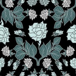 Rose En Fleur- Art Nouveau Roses in Pine and Mint- Large Scale