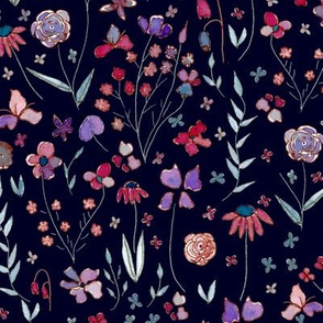 Handpainted Botanicals in pink and purple
