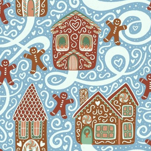 Let it Snow - Gingerbread Town - Blue