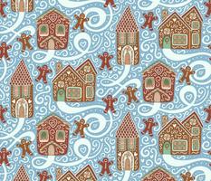 Let it Snow - Gingerbread Town - Blue