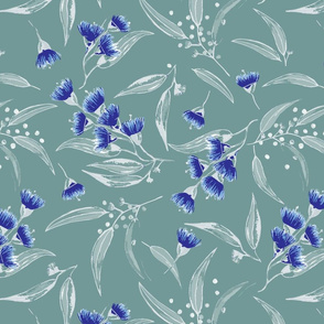 Gum Blossoms - Green with Green Leaves and Blue Blossoms